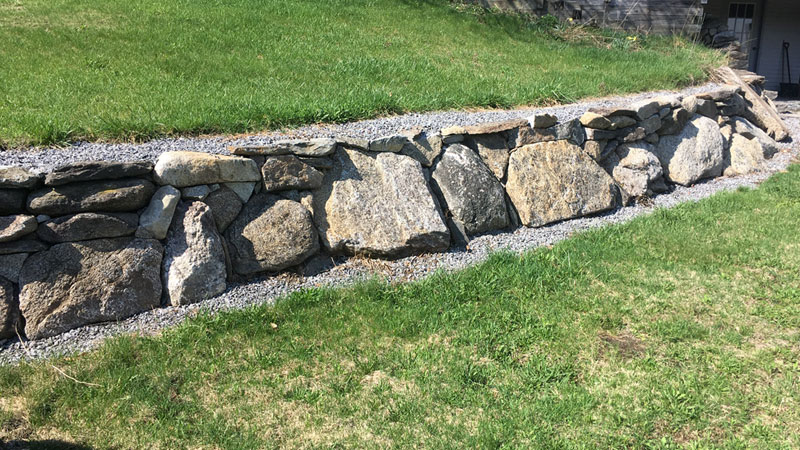 custom built rock wall